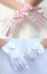 ถุงมือเด็กหญิงแบบสั้นแต่งโบว์หวาน