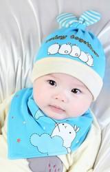 เซ็ตหมวกเด็กอ่อนลายฝูงกระต่ายน้อยพร้อมผ้ากันเปื้อน play together จาก YOYOTREE
