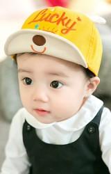 หมวกแก๊ปปักอักษร Lucky ใต้ปีกหมวกปักหน้าหมี GZMM