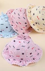 หมวกสาวน้อยลายทางด้านบนแต่งโบว์น่ารัก