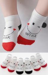 เซ็ตถุงเท้าเด็กสีขาวลายยิ้มอักษร Happy Smile และ Wink แพ็ค 3 คู่