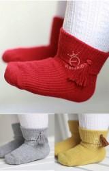 ถุงเท้าเด็กพับขอบด้านข้างแต่งพูน่ารัก ไม่มีกันลื่น Kacakid