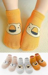 เซ็ตถุงเท้าเด็กลายหน้าสัตว์น่ารัก แพ็ค 3 คู่ สีเทา ส้ม และ เบจ