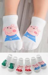 เซ็ตถุงเท้าเด็กสีขาวครีมลายหมูชมพู Peppa Pig และ ไดโนเสาร์ แพ็ค 3 คู่