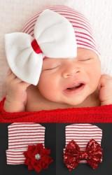 หมวกสาวน้อยแรกเกิดลายขาว-แดง แต่งโบว์และดอกไม้