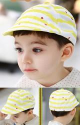 หมวกแฟล็ตแค็ป Flat Cap สีเหลืองลายขวาง รูปดาวแดงเล็กๆ TUTUYA