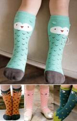 ถุงเท้าเด็กแบบยาวลายหน้าสัตว์น่ารัก มีกันลื่น Kacakid