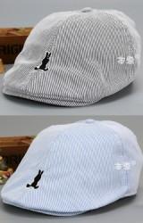หมวกแฟล็ตแค็ป Flat Cap ลายทาง ปักรูกระต่าย