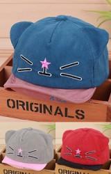 หมวกแก๊ปเด็กผ้าลูกฟูกหน้าแมวเหมียวปักรูปดาว KUKUJI