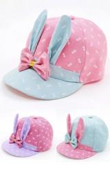 หมวกแก๊ปกระต่ายหูยาวแต่งโบว์ ตัวหมวกลายสี่เหลี่ยม