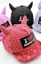 หมวกแก๊ปเด็กแต่งเขาสกรีน I Love Haters ลายหมี