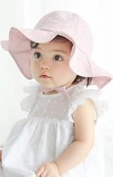 หมวกสายน้อยลายดอกปีกกว้าง หมวกกันแดด มีเชือกผูกใต้คาง