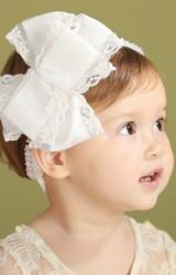 สายคาดผมโบว์ซ้อนแต่งลูกไม้สวย โบว์ใหญ่ Angel Neitiri