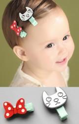 กิ๊บเด็กแพ็ค 2 ชิ้น รูปแมวน้อยสีขาวและโบว์แดงลายจุด Angel Neitiri