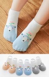 เซ็ตถุงเท้าเด็กลายหมีกับดอกไม้ แพ็ค 3 คู่ ฟ้า ส้ม และเทา