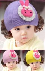 หมวกปอยผมสาวน้อยแต่งกระต่ายน้อยรองด้วยลูกไม้ครีม