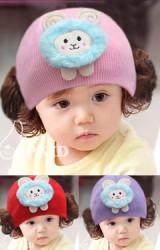 หมวกปอยผมสาวน้อยแต่งแกะฟ้าขนฟูน่ารัก