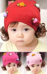 หมวกปอยผมสาวน้อยแต่งกุหลาบตูมเล็กๆ 5 ดอก