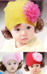 หมวกปอยผมแต่งดอกไม้ฟูน่ารัก