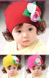 หมวกปอยผมสาวน้อย แต่งช่อดอกไม้