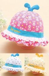หมวกสาวน้อยลายกระต่าย ปีกหมวกระบายลูกไม้