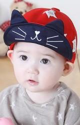 หมวกแก๊ปสกรีนรูปแมว ปลายปีกหมวกแต่งหูแหลม