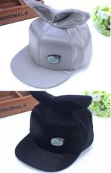 หมวกแก๊ป Hiphop แต่งหูกระต่าย ผ้าเงา