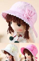 หมวกสาวน้อยผ้าลูกไม้ แต่งโบว์หูกระต่าย