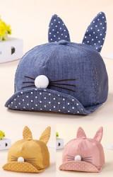 หมวกแก๊ปหน้ากระต่าย ใต้ปีกหมวกและหูกระต่ายลายจุด