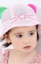 หมวกบัคเก็ตผ้าตาข่ายแต่งหูน่ารัก ด้านหน้าปักดาว