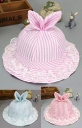 หมวกสาวน้อยลายทางแต่งหูกระต่ายน่ารัก ปีกหมวกระบายลูกไม้