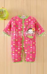 จั๊มสูทเด็กสีชมพูสดใสลายดาวและหัวใจ แต่งรูปลิงน้อย