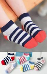 ถุงเท้าเด็กลายขวางสีสันสดใส แพ็ค 5 คู่ 5 สี แบบข้อสั้น ไม่มีกันลื่น