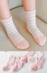 ถุงเท้าเด็กแพ็ค 5 คู่ โทนสีชมพู แบบข้อสั้น ไม่มีกันลื่น