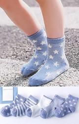 ถุงเท้าเด็กแพ็ค 5 คู่ โทนสีน้ำเงิน แบบข้อสั้น ไม่มีกันลื่น