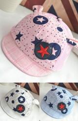 หมวกแก๊ปลายดาวแต่งหูน่ารัก ด้านหลังผ้าตาข่าย