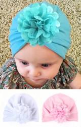 หมวกอินเดียผ้ายืดแต่งดอกไม้กลีบฉลุ