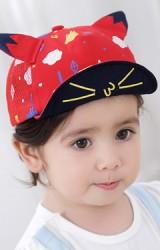 หมวกแก๊ปหน้าแมว แต่งหูแมวน่ารัก ลายหลากสี ด้านหลังผ้าตาข่าย