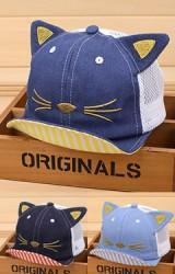 หมวกแก๊ปยีนส์หน้าแมวด้านหลังผ้าตาข่าย