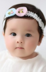 สายคาดผมวงกลมฟ้าและชมพูสายคาดลูกไม้ขาว Angel Neitiri
