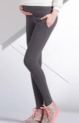 กางเกงเลกกิ้งคนท้องแบบขายาวมีกระเป๋าข้าง ผ้ายืดหนาเนื้อดี
