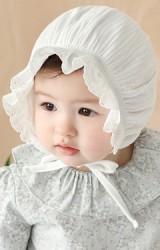 หมวกสาวน้อยผ้าฝ้ายแต่งขอบระบายลูกไม้น่ารัก