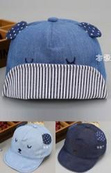 หมวกแก๊ปหน้าหมีหลับแต่งหูลายจุด จาก KUKUJI
