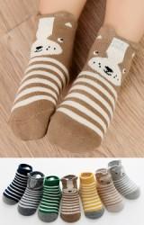 ถุงเท้าเด็กแพ็ค 7 คู่ ลายขวาง แบบเรียบและหน้ารูปสัตว์ มีกันลื่น