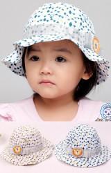 หมวกเด็กปีกรอบลายสามเหลี่ยม คาดโบว์เงินแต่งรูปสิงโต