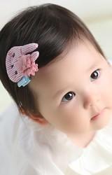 กิ๊บกระต่ายน้อยลายทางแต่งดอกไม้ฟู เซ็ต 2 สี Angel Neitiri