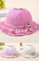 หมวกเด็กหญิงลายโบว์เล็กๆ คาดขอบหมวกลายดอกไม้แต่งโบว์