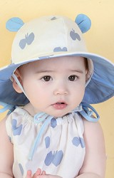 หมวกเด็กปีกกว้างผ้าฝ้ายลายผีเสื้อแต่งหูน่ารัก