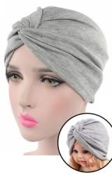 หมวกอินเดียผ้าสีพื้นด้านหน้าสอดไขว้เซ็ตแม่-ลูก