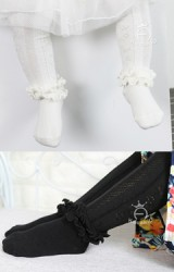 ถุงน่องเด็กแต่งระบายช่วงข้อเท้า ด้านข้างทอลายสวย Kacakid